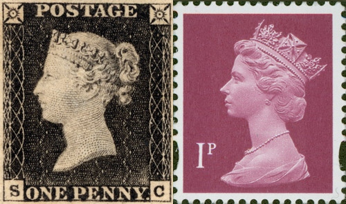 "The Penny Black and ""Machin"" stamp designs."