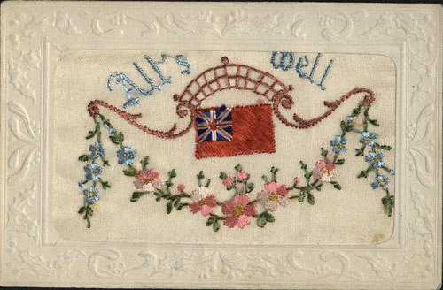 Embroidered card with an embossed Christmas border. (OB1995.162/24)