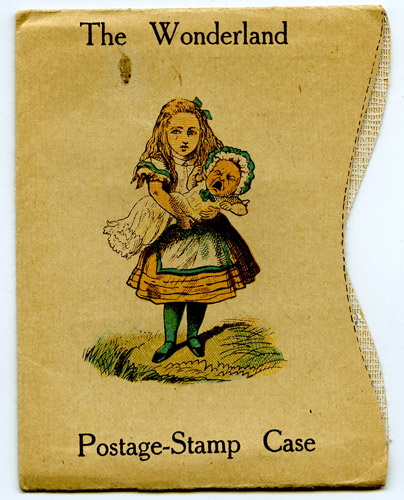 'Wonderland' postage stamp case, exterior – printed with chromolithographic images, 1889. (OB1995.415/1)
