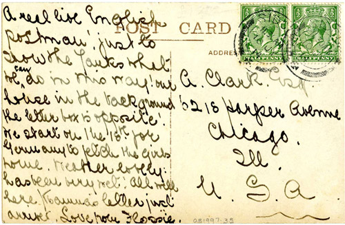 Postcard sent in 1914. (OB1997.35)