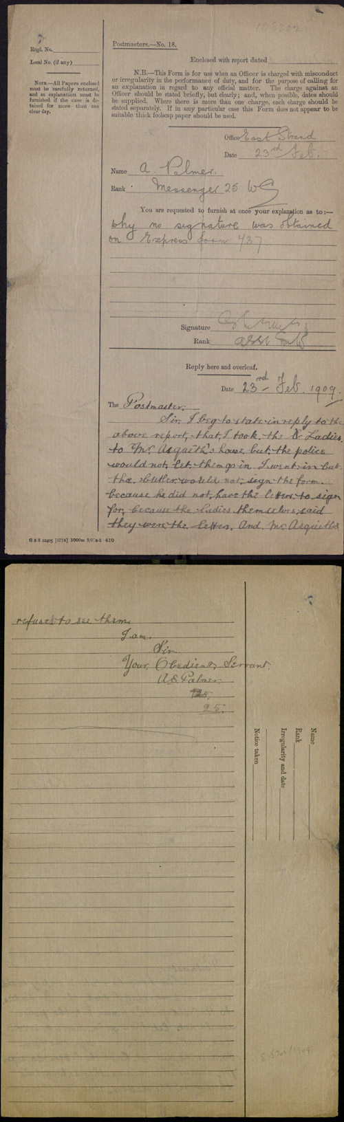 A.S Palmer's report explaining why he did not obtain a signature for the delivery of the suffragettes, 23rd February 1909. (POST 30/1655a)