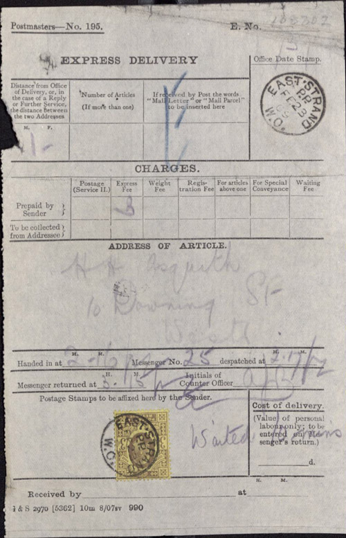 Post Office Express Service form for the delivery of the suffragettes, 23rd February 1909. (POST 30/1655a)