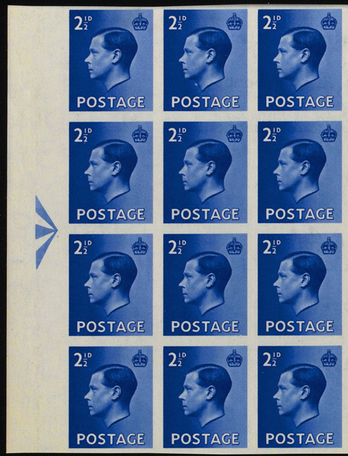 Detail of Lot 18: King Edward VIII registration block of 48 (2½d value, blue), estimated at £100,000-120,000.