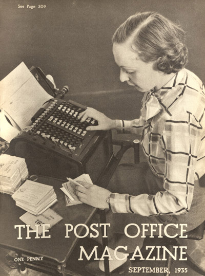 A female clerk at the Post Office Savings Bank, on the cover of the Post Office Magazine September 1935. (POST 92)