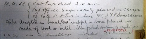 Note recording the date and time of the death of the Streatham Hill sub-postmaster's death. (POST 22/386)