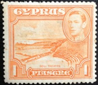 1pi value stamp from Cyprus, issued 12 May 1938.