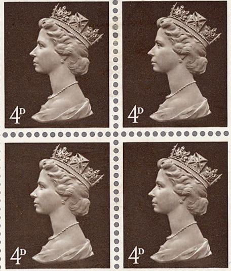 A block of 4d Machin head stamps, 1967.