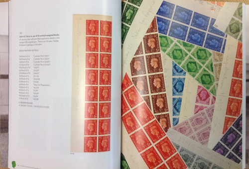 Pages from Sotheby's auction catalogue, showing Lot 46 – 1937-47 ½d to 1s, set of 16 vertical marginal blocks, estimated at £120,000-£150,000.
