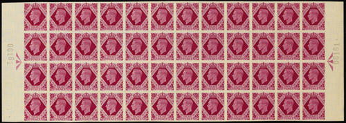 King George VI, 1937-47, 8d bright carmine example from unique set of 17 horizontal marginal Registration blocks, estimated at £400,000-£500,000.