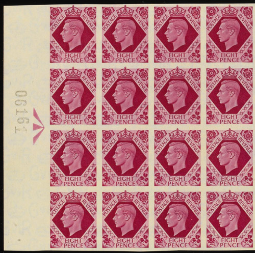 Detail of Lot 47 - King George VI, 1937-47, 8d bright carmine example from unique set of 17 horizontal marginal Registration blocks, estimated at £400,000-£500,000.