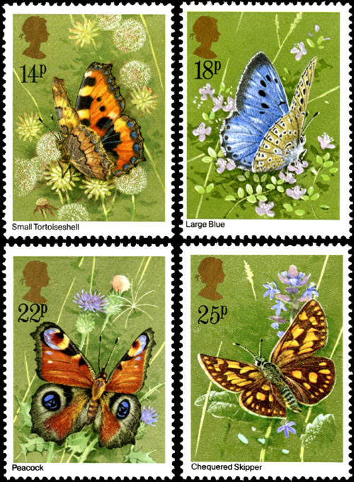 Butterflies stamps issued 13 May 1981. 14p – Aglais urticae, 18p – Maculinea arion, 22p – Inachis io, 25p – Carterocephalus palaemon.