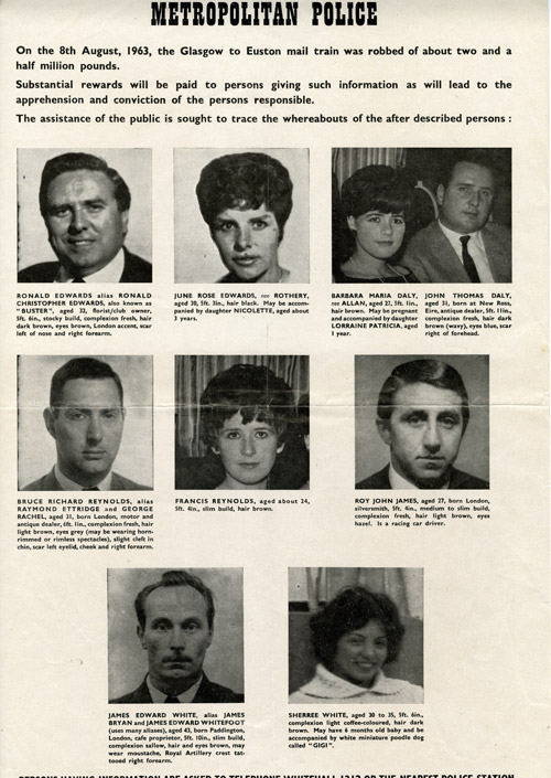 Wanted poster of the robbers and their associates. This was produced not long after the robbery and was widely distributed. (POST 120/95)