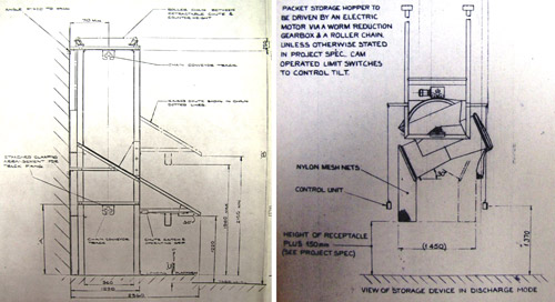Two excerpts from a set of engineering standard drawings: a view of a retractable parcel chute (left) and an operational diagram of a packet storage hopper (right). (POST 17/533)