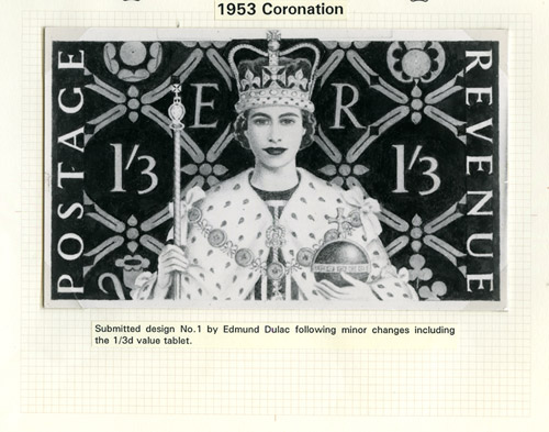 QEII Coronation: Submitted design by Edmund Dulac, 21 August 1952. (QEII/1/020)