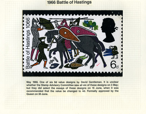 QEII 1966 Anniversary of Battle of Hastings: Submitted design by David Gentleman, May 1966. (QEII/53/013)