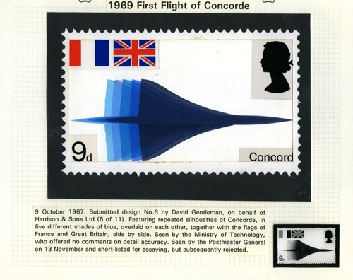 QEII 1969 Concorde: Submitted design by David Gentleman (Harrison and Sons Ltd), 9 October 1967. (QEII/65/006)