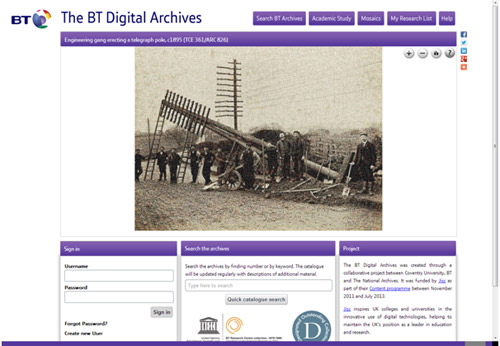 The new BT Archives online catalogue.