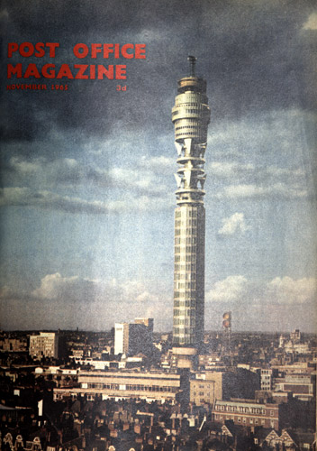Cover of Post Office Magazine from November 1965. It depicts the GPO Tower.