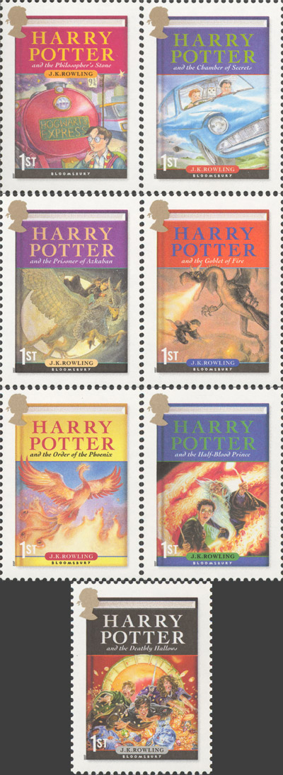 Harry Potter book cover stamps, issued 17 July 2007.