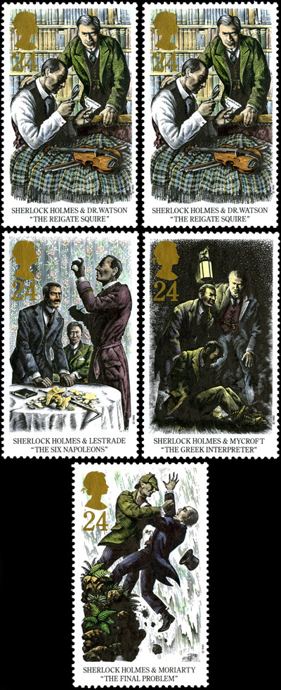 "Sherlock Holmes. Centenary of the Publication off ""The Final Problem"" stamps, issued 12 October 1993."