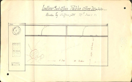A hand-drawn diagram of the broken window at Ludlow Post Office. (POST 30/2528a)
