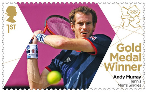 Andy Murray Gold Medal Winner stamp, 2012.