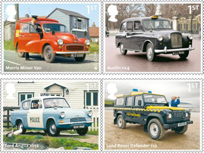 British Auto Legends - The Workhorses - 1st Class: Morris Minor Van, Royal Mail; Austin FX4, London Taxi; Ford Anglia, Police; Land Rover, Coastguard.
