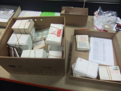Philatelic material during the stock take.