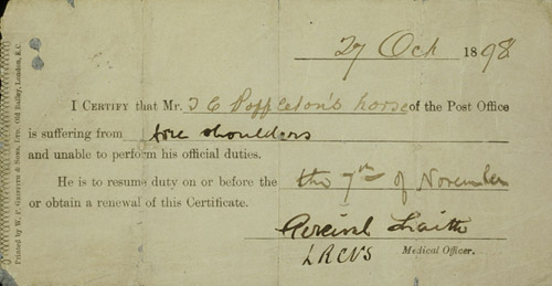Horse's sick note, 1898 (POST 10/334)