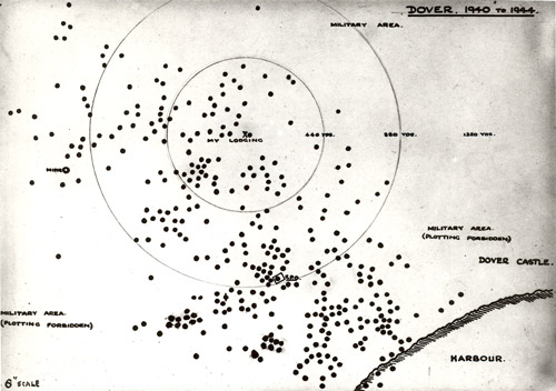 Map of Dover 1940-44, showing bombed spots. (POST 118/1612)