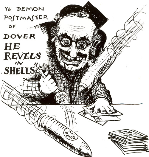 'The Demon Postmaster'. This is believed to be a comic portrait of AWB Mowbray, Head Postmaster of Dover during the Second World War. (POST 118/1557)