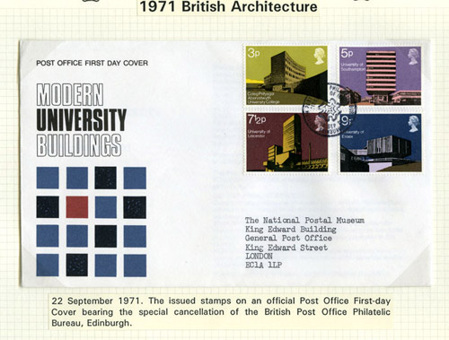 Stamps and first day cover for Modern University Buildings stamp issue, 1971. (QEII 96-35)