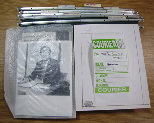 A sample of uncatalogued photographic files from the Courier archives.