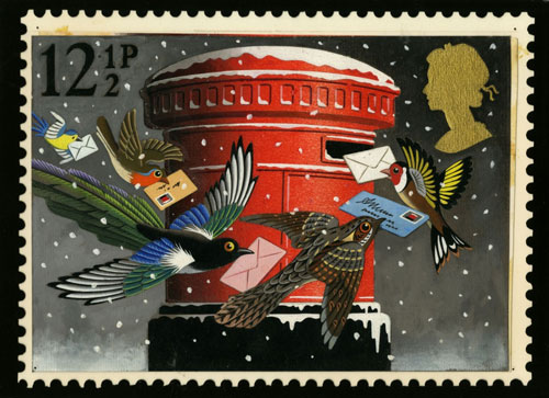 Original artwork for the 12.5p 1983 Christmas stamp.