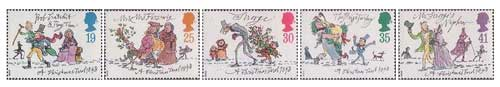 Christmas stamps from 1993 designed by Quentin Blake