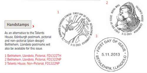 Additional handstamps available with the 2013 Christmas stamps.