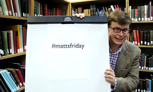 Matt presents the hashtag for the #mattsfriday Twitter Takeover.