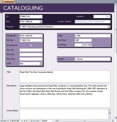 Cataloguing database screen capture