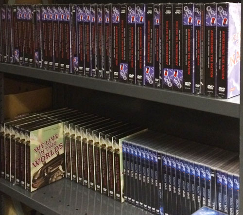 Immaculate shelving of shop DVDs