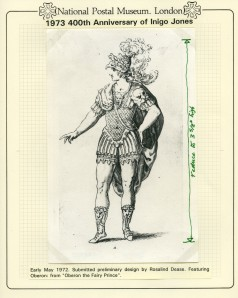 QEII-106-16, 1973 400th Anniversary of Inigo Jones, preliminary sketch by Rosalind Dease