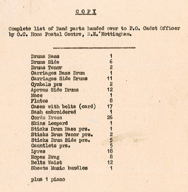 February 2014 the british postal museum archive blog a list of band parts on loan to the post office cadets in 1947 attached spiritdancerdesigns Choice Image