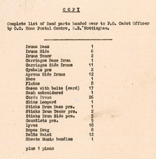 A list of band parts on loan to the Post Office Cadets in 1947, attached to a letter concerning a shortage of bugles. [Extract from POST 47/942.]