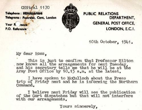 Public confidence in the APS was vitally important during the War. This letter concerns one of many press visits to postal facilities organised by the Armed Forces and the Post Office. [Extract from POST 47/1028.]