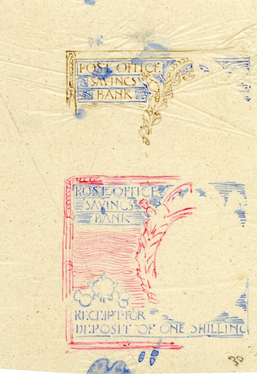 1911 Sketch design for the coupon for the Post Office Savings Bank with a Downey Head example (above). Both designed by George Eve.