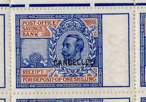 1911 Sketch design for the coupon for the Post Office Savings Bank with a Downey Head example