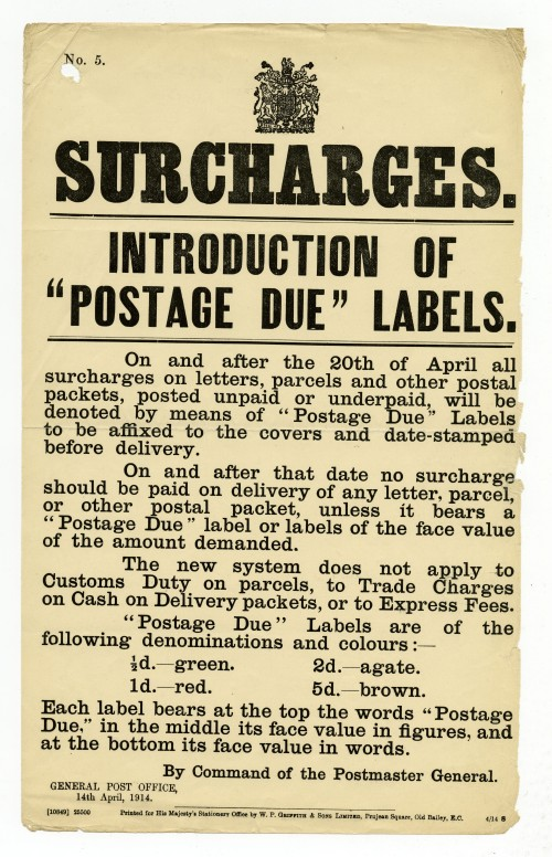 14 April 1914 Post Office notice for the introduction of Postage Due labels