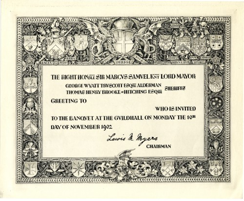 1902 Design for the Lord Mayor's invitation