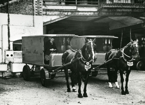 Scenes in the stables of Messers McNamara and Co., horse drawn mail vans (POST 118/1981)