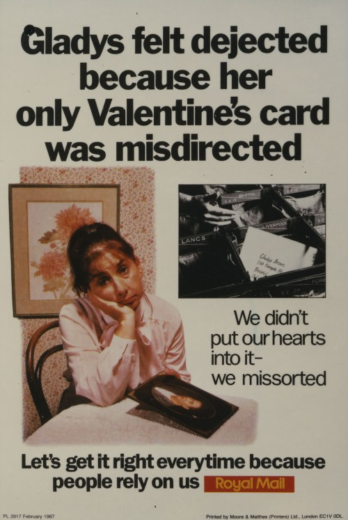 Poster showing the consequences of missorting, especially on Valentine's Day