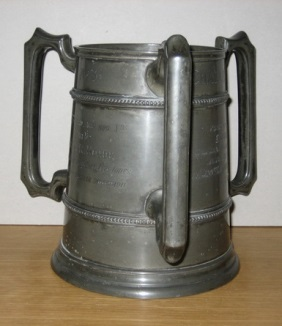 The Lambert Challenge Cup No. 3 which was awarded to the E Company of the 49th Middlesex PO Volunteers for shooting competitions in 1873 (2005-0030).